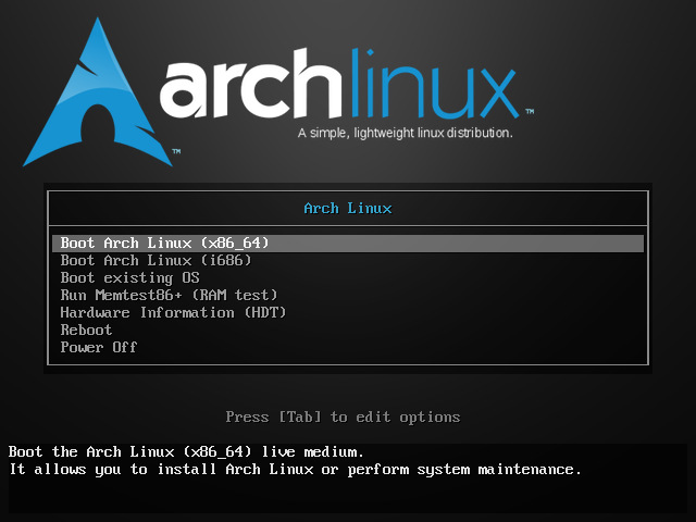 Arch Linux bootup screen